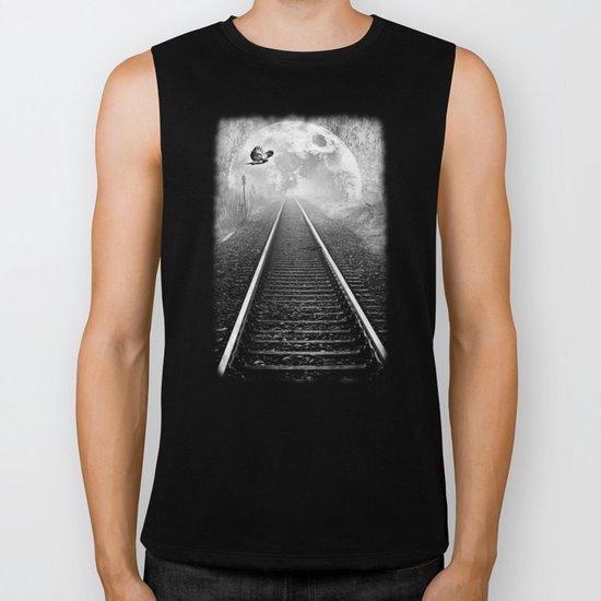 Railway to the moon in b&w Biker Tank