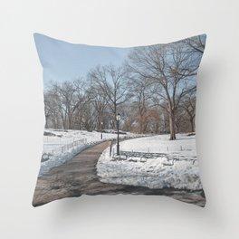Snowy Central Park Throw Pillow