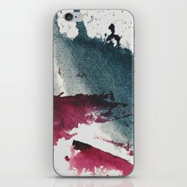 Disrupt: a minimal, abstract mixed media piece with bold strokes of magenta on blue iPhone Skin