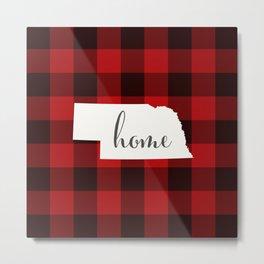 Nebraska is Home - Buffalo Check Plaid Metal Print