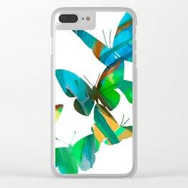 Green Butterflies Clear iPhone Case