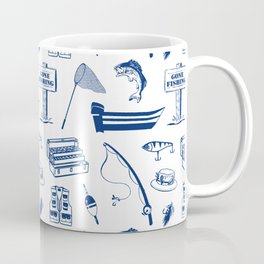 Gone Fishing // Dark Blue Coffee Mug