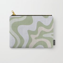 Liquid Swirl Contemporary Abstract Pattern in Light Sage Green Carry-All Pouch