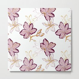 Magnolia nature drawing Metal Print