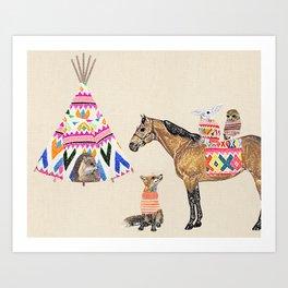 Family with horse, fox, rabbit, owl Art Print