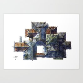Taiwanese roofscapes 01(colored) Art Print