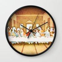the last unicorn Wall Clocks featuring Last Supper Unicorn by That's So Unicorny
