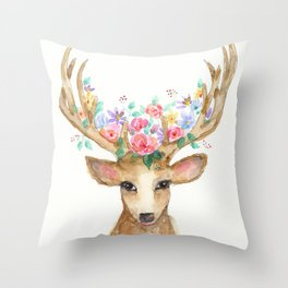 Deer with Flower Crown Throw Pillow