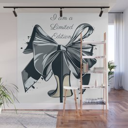 Fashion illustration with high heel shoe and bow. I am limited edition Wall Mural