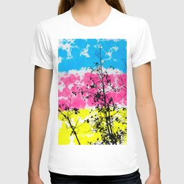 tree branch with leaf and painting texture abstract background in blue pink yellow T-shirt
