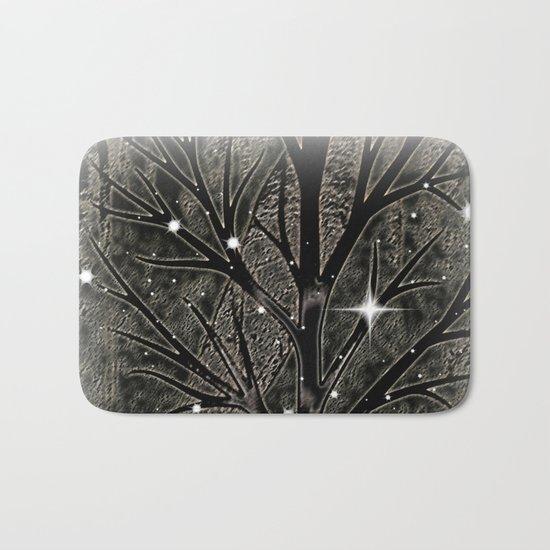 Black frozen winter sparkly night  Bath Mat