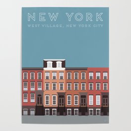 West Village, New York, NYC Travel Poster Poster