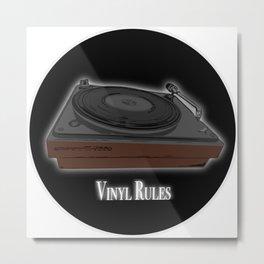 Vinyl Rules - Turntable design Metal Print