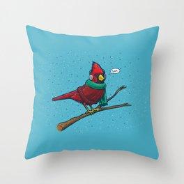 Annoyed IL Birds: The Cardinal Throw Pillow