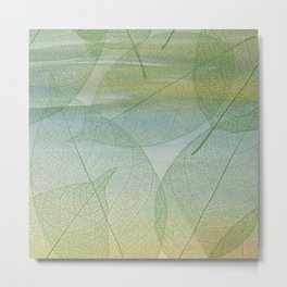 Delicate Painterly Leaves Metal Print