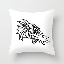 Mythical Dragon Breathing Fire Mascot Throw Pillow