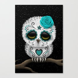 Adorable Teal Blue Day of the Dead Sugar Skull Owl Canvas Print