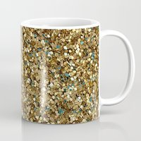 gold glitter Mugs featuring Gold Glitter by Katieb1013