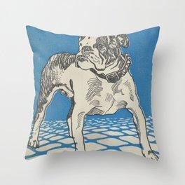 Vintage American Bulldog Illustration (1912) Throw Pillow