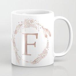 Letter F Rose Gold Pink Initial Monogram Coffee Mug