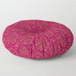 Gold Monstera on Rasberry Pink Floor Pillow