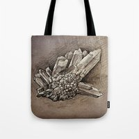 crystals Tote Bags featuring Crystals by Werk of Art