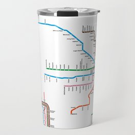 Chicago CTA Map, Chicago Wall Art, CTA Art Print Travel Mug