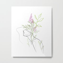 Colorful Botanical Flowerhead Portrait, Boho Line Art Metal Print