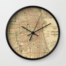 Vintage Map of The Chicago Railroads (1906) Wall Clock