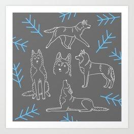 Siberian Husky Pattern Art Print