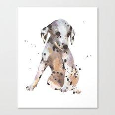 dalmatian, dalmatian puppy, dalmatian painting, cute puppy,  Canvas Print