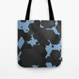 Black hexagons on blue Tote Bag