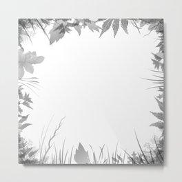 grey leafs forest art Metal Print