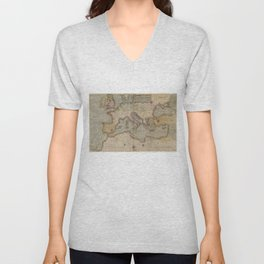 Vintage Map of Europe and The Mediterranean (1569) Unisex V-Neck