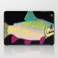 trout iPad Cases featuring Neon Rainbow Trout by Florian Rodarte