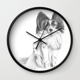 Papillion (Butterfly Dog) Wall Clock