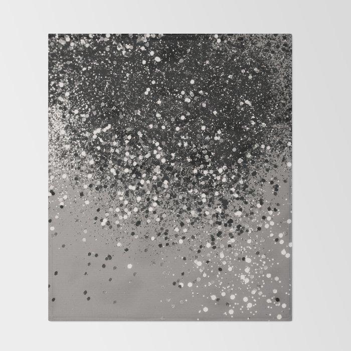 Silver Gray Glitter #1 #shiny #decor #art #society6 Throw Blanket