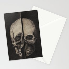 STUDY OF HUMAN SKULL (INSPIRED BY LEONARDO DA VINCI) Stationery Cards