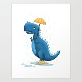 Dino in the Rain Illustration Art Print