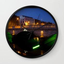 Dublin's River Liffey By Night Wall Clock