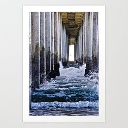 Abstract Low Tide Under Huntington Beach Pier Art Print