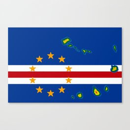 Cape Verde Flag with Map of the Cape Verde Islands Canvas Print