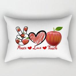 Peace Love Teach Apple Teacher quote Rectangular Pillow