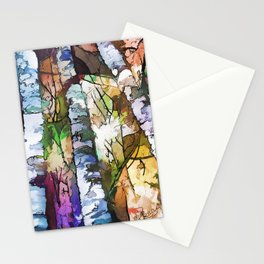 White Aspen and  Birch Trees Contemporary Art Stationery Cards