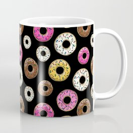 Donut Pattern - Black Coffee Mug