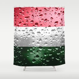 Flag of Hungary - Raindrops Shower Curtain