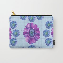 Flower Pattern in Purple and Blue Carry-All Pouch