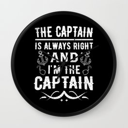 Funny Boat Pontoon Captain Always Right Wall Clock