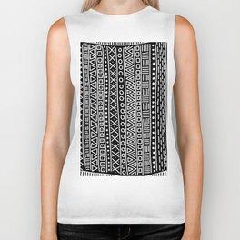 Black white hand painted geometrical aztec pattern Biker Tank