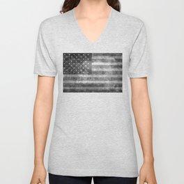 US flag, Old Glory in black & white Unisex V-Neck